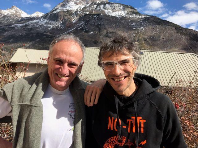 Denis Cheissoux et Lionel Daudet, alpiniste (dans les Écrins).