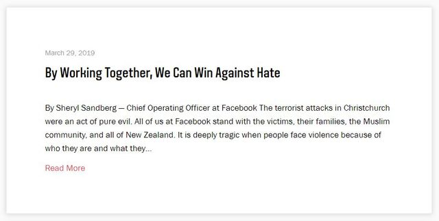Le message diffusé par Sheryl Sandberg pour Facebook.