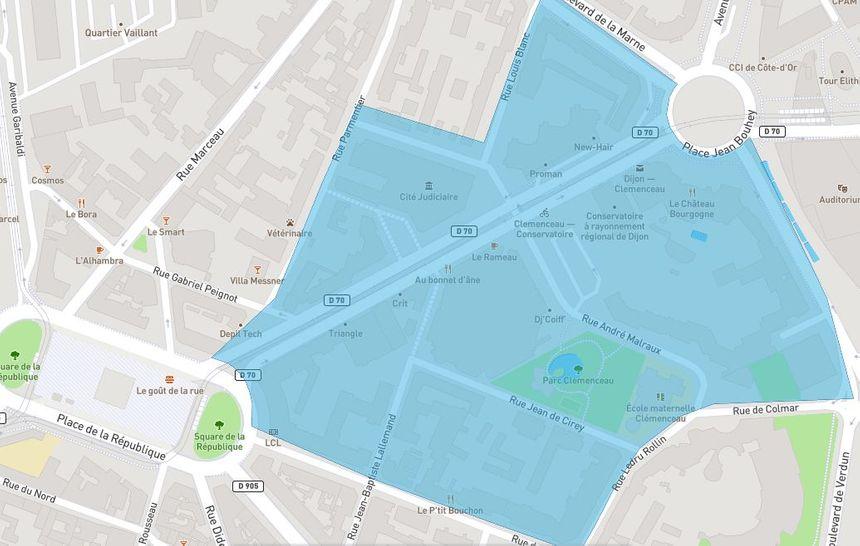Capture d'écran du quartier Clémenceau