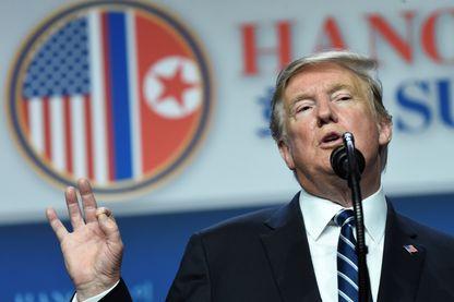 Donald Trump lors de sa conférence de presse à Hanoi, jeudi 28 février 2019, annonçant l'échec de sa rencontre avec Kim Jong-un.