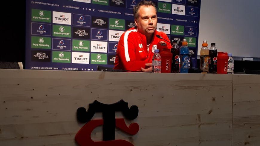 Conférence de presse d'Ugo Mola (Stade Toulousain) avant le quart de finale de Coupe d'Europe
