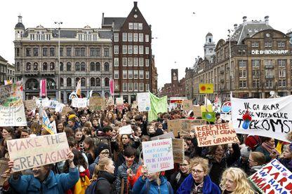 Une manifestation de lycéens ce 14 mars en Norvège contre l'inaction climatique