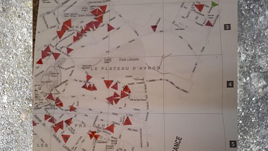 Carte des maisons fissurées à la suite des mouvements de terrain à Rosny-Sous-Bois