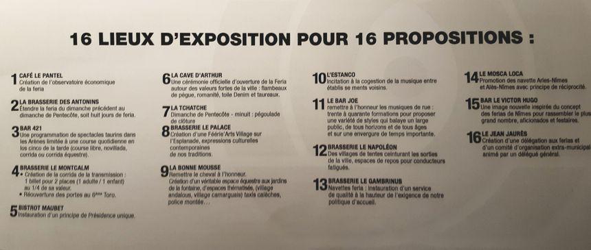 16 propositions dans 16 établissements pendant 16 jours