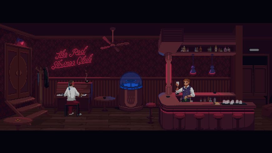 Ambiance piano bar et dystopie dans The Red Strings Club.