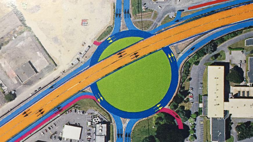 Le plan du futur rond-point de Palissy, avec le viaduc qui le traversera fin 2020.
