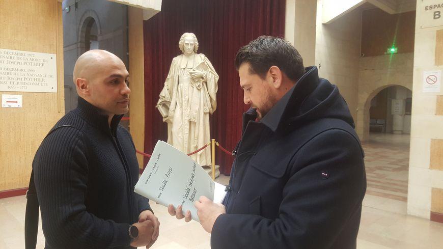 L'ancien préparateur physique de l'OLB Nordine Attab (à gauche) et son avocat Maître Christophe Carpe