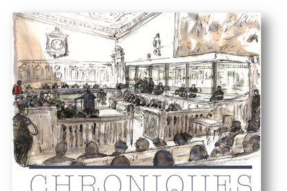 """Couverture de """"'Chroniques d'un procès terroriste"""" de Charlotte Piret, Florence Sturm, Antoine Mégie et Benoît Peyrucq"""