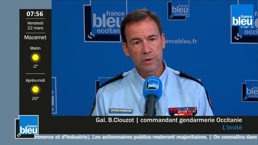 Le général Bernard Clouzot, commandant de la région de gendarmerie d'Occitanie, invité de France Bleu Occitanie