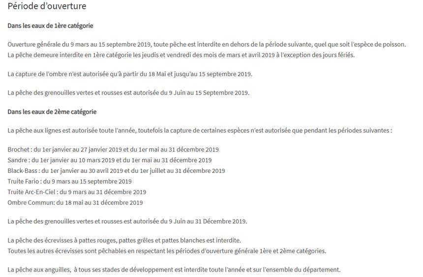 Rappel des périodes d'ouverture. Source : fédération de pêche de Côte-d'Or