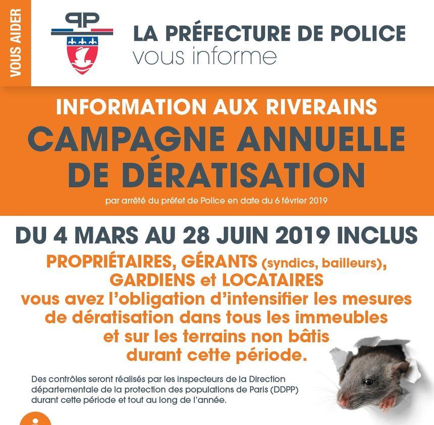 L'opération annuelle de dératisation débute ce matin à Paris et jusqu'au vendredi 28 juin inclus.