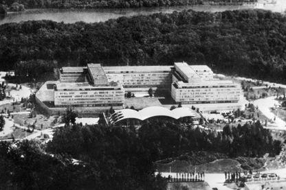 Vue aérienne datant du 18 mars 1975 du siège de la C.I.A à Langley, près de Washington, aux Etats-Unis.