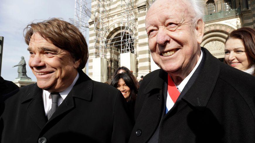 Bernard Tapie avec Jean-Claude Gaudin aux obsèques d'Edmonde-Charles Roux en 2016
