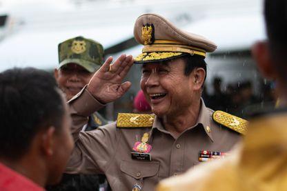 Le Premier Ministre thaïlandais Prayut Chan-O-Cha lors d'un exercice militaire sur la base de Lopburi, le 14 février 2019.