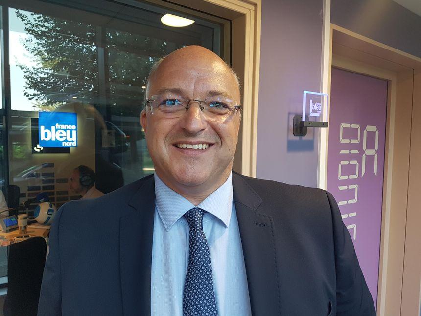 Damien Castelain, le président de la métropole européenne de Lille, en juin 2018, à France Bleu Nord