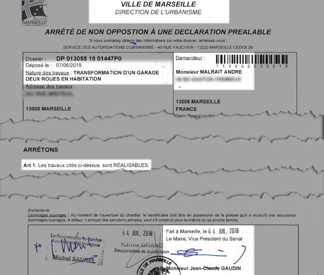 Le document signé par le maire de Marseille et autorisant la transformaion d'un garage en logement