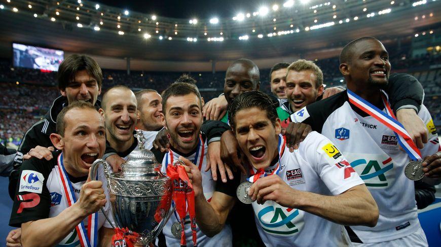 Les joueurs de l'EAG lors de la finale victorieuse face à Rennes en 2014.