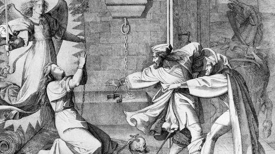 Peter Cornelius, illustration de la scène du donjon dans le Faust de Goethe (Faust, Mephisto et Gretchen)