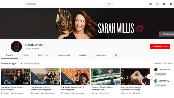 Sarah Willis, chaîne Youtube