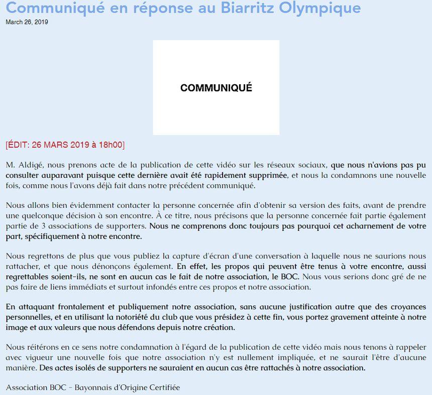 La position du BOC - Bayonnais d'Origine Certifiée