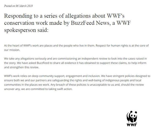 Capture d'écran du communiqué de presse WWF