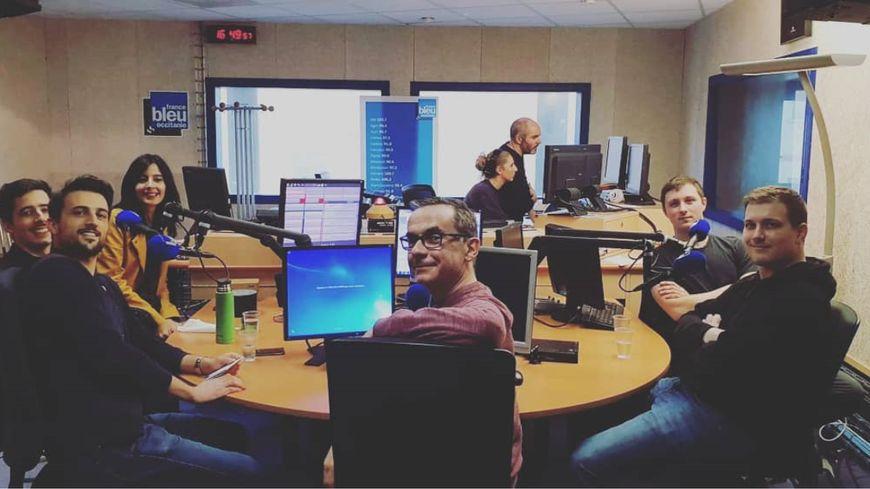 Le groupe et Franck dans nos studios.
