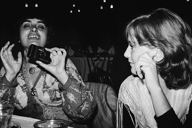 Agnès Varda et Isabelle Huppert à la discothèque Studio 54 à New York en 1977