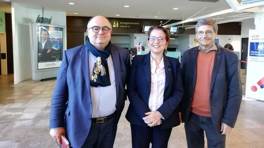 Ludovic Jolivet maire de Quimper et président de QBO, Annaïg Le Meur député du Finistère, Alain Decourchelle maire de Pluguffan (et suppléant de la député)