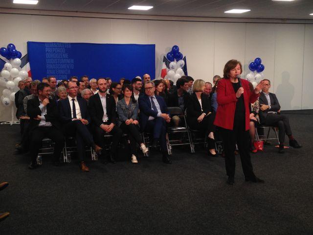 La tête de liste Nathalie Loiseau lors d'une réunion publique à Brest, le 26 avril 2019.