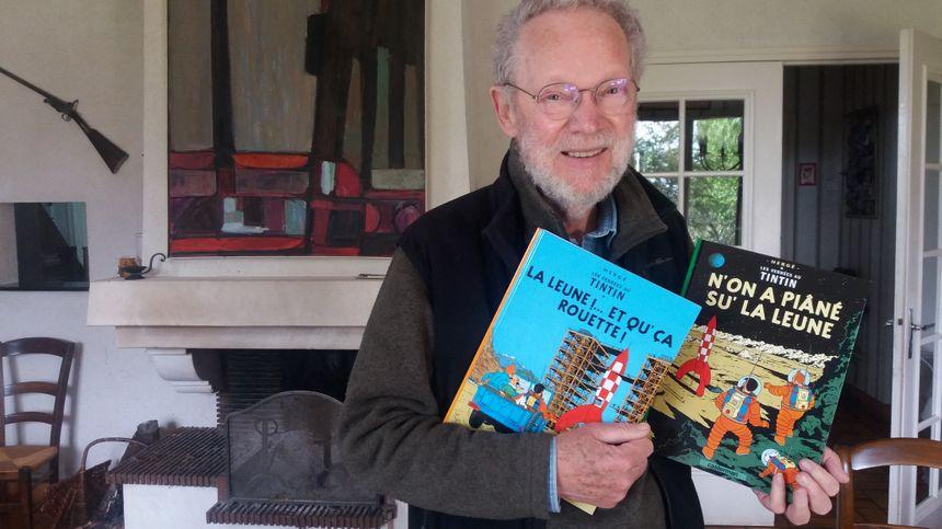 Serge Bertin, le traducteur des albums de Tintin en sarthois.