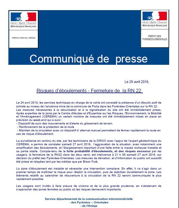 Communiqué de presse des préfectures de l'Ariège et des Pyrénées-Orientales