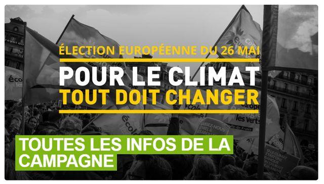"""Le site d'Europe écologie-Les Verts met en avant une large bannière pour accéder à son site spécial """"européennes""""."""