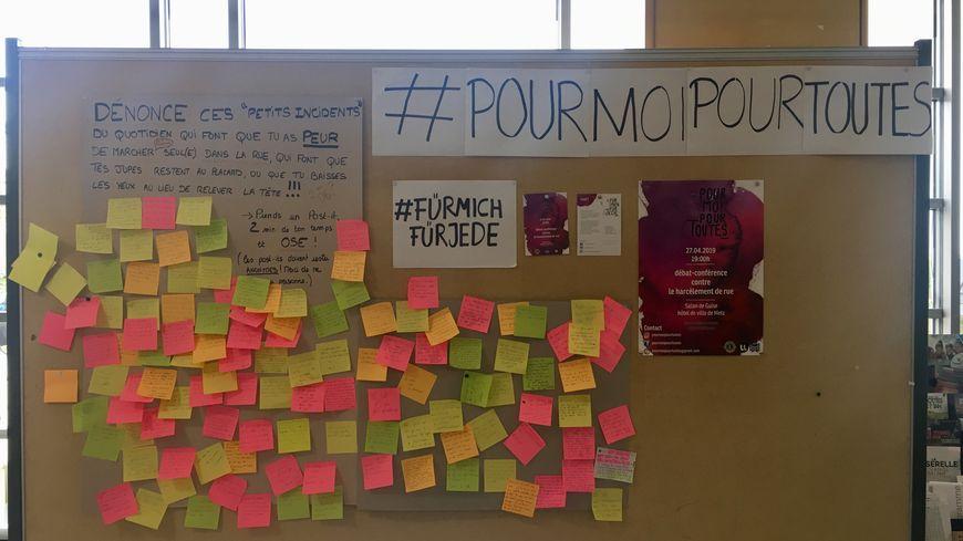 Depuis début avril, un mur contre le harcèlement de rue a pris place à la fac de Lettres à Metz