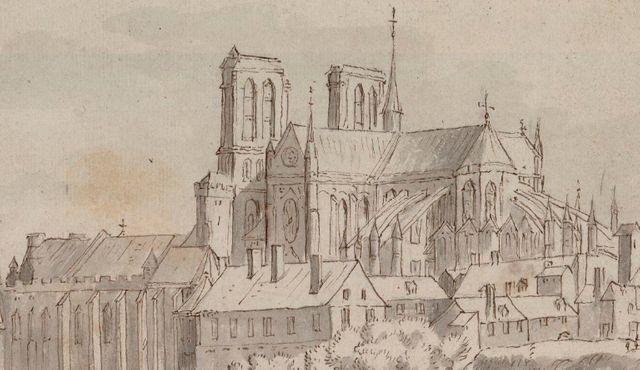 Notre-Dame à la fin du XVIIe siècle - Dessin à la plume et encre brune, lavis à l'encre de Chine