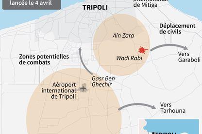 Localisation des zones de combats, des déplacements de civils et raids aériens autour de Tripoli (Libye) depuis le début de l'offensive du maréchal Khalifa Haftar le 4 avril