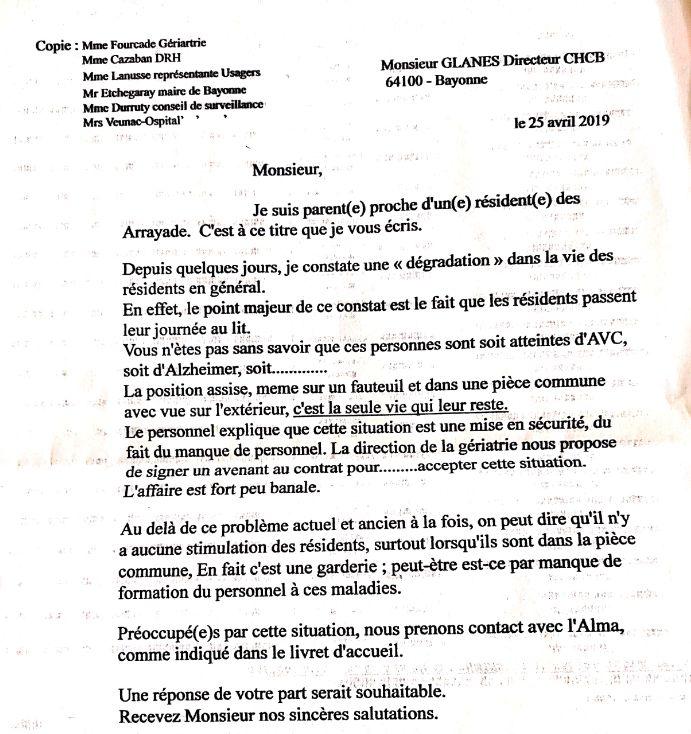 La lettre des familles de malades envoyée à la direction de l'hôpital de Bayonne