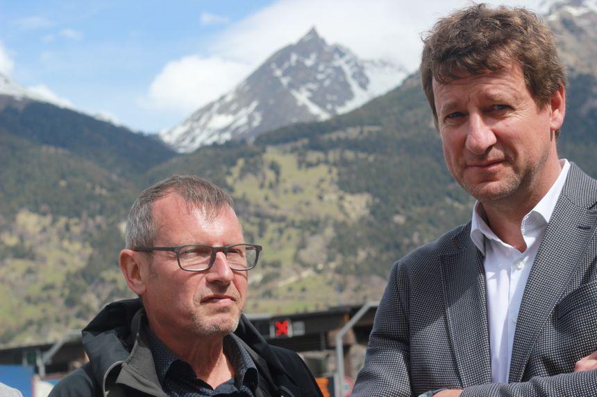 Yannick Jadot (à droite) déplore l'élargissement du tunnel du Fréjus pour les transports de marchandises au détriment des voies ferroviaires