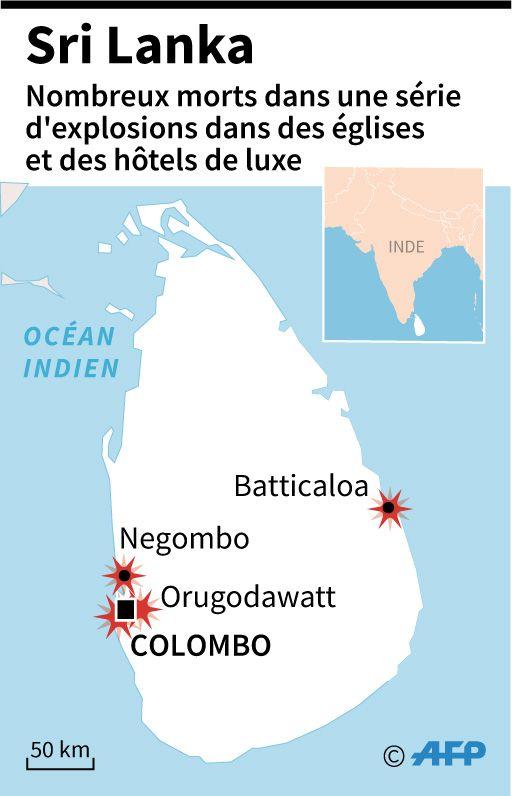 Sept explosions ont visé des hôtels et églises du Sri Lanka. La huitième se serait produite lors d'une opération pour interpeller des suspects.