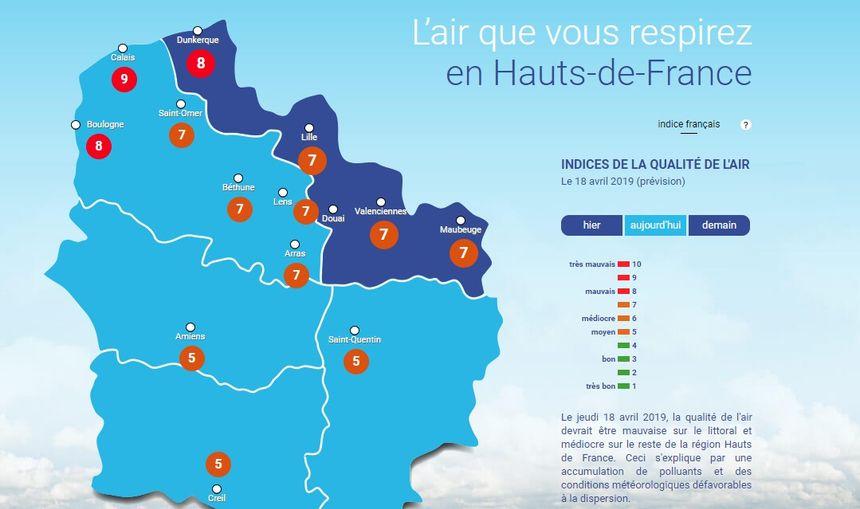 La carte d'Atmo, l'association chargée d'évaluer la qualité de l'air, le jeudi 18 avril à 14h.