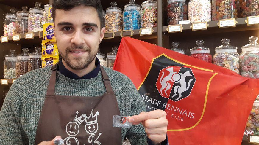 Des bonbons aux couleurs du Stade rennais. 23 avril 2019.