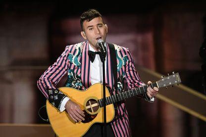 L'auteur-compositeur-interprète Sufjan Stevens, pendant la cérémonie des Oscars au Dolby Theatre à Hollywood & Highland Center le 4 mars 2018.