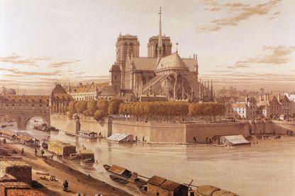 Gravure de Notre-Dame de Paris vers 1750