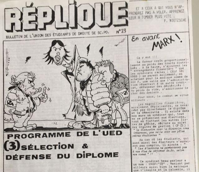Dans le numéro 23 du journal Réplique, publié par le syndicat UED, les trotskistes sont caricaturés comme Stéphane Rozès au centre portant une doudoune et un cartable Solidarnocs.