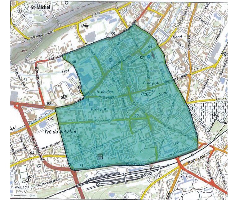 Le périmètre d'interdiction de manifestation Gilets Jaunes en centre-ville d'Evreux ce 27 avril