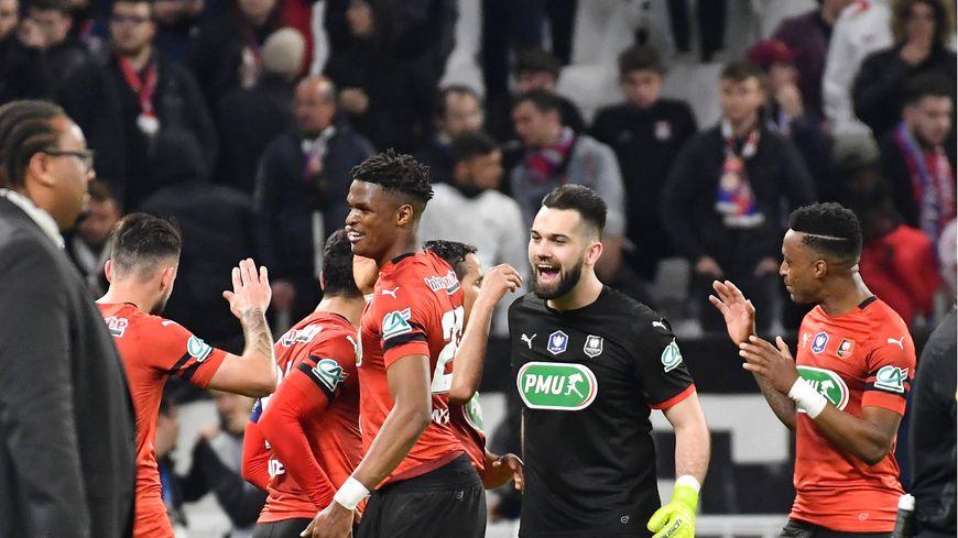 La joie des Rennais après leur victoire en Coupe de France face à Lyon.