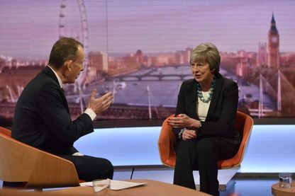"Andrew Marr et Theresa May (janvier 2019) sur le ""Andrew Marr Show"" , sur BBC One"