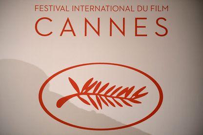 Le logo du Festival international du film de Cannes, le 13 avril 2017 à Paris.