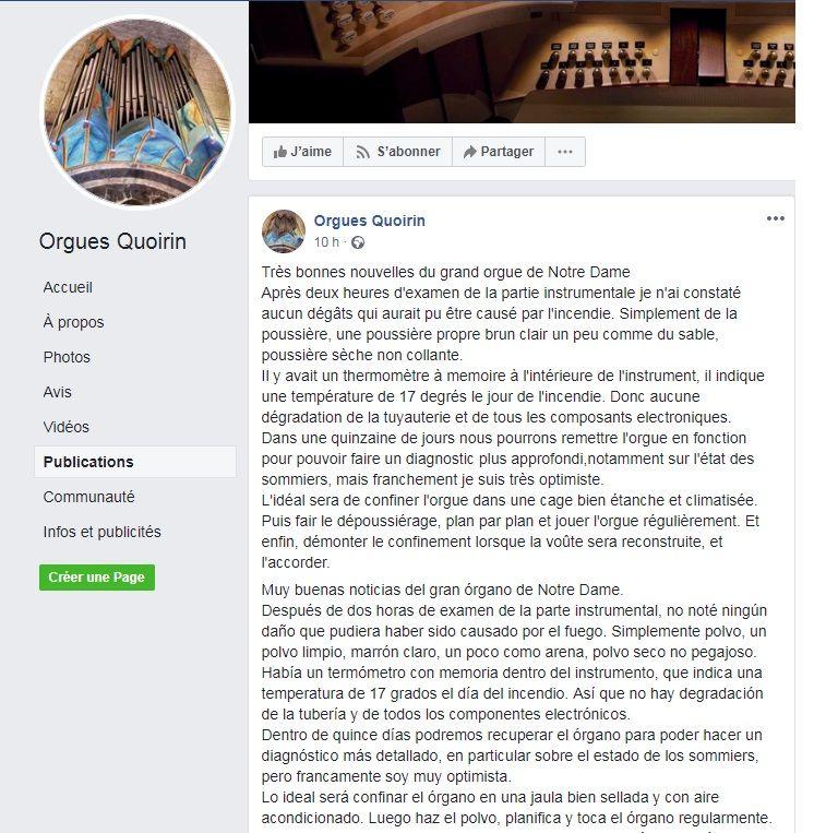 """Capture d'écran sur la page Facebook """"Orgues Quoirin"""""""