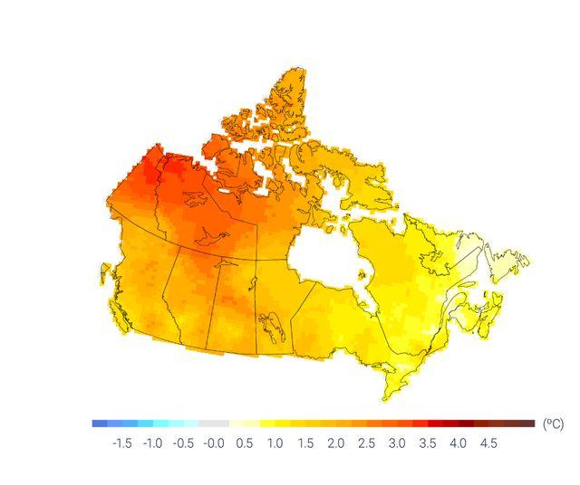 Les augmentations les plus importantes de température concernent le Nord du Canada, les Prairies et le Nord de la Colombie-Britannique.