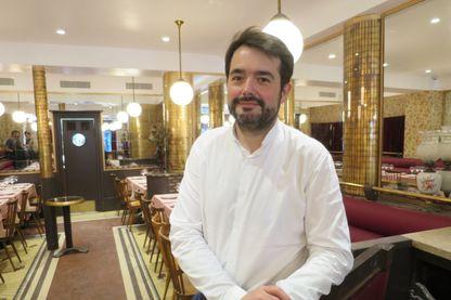 """Le chef Jean-François Piège dans son restaurant """"la Poule au pot"""" à Paris, le 7 juin 2018."""